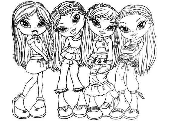 Kleurplaat Bratz Meisjes Groep 3 Bratz Kleurplaten Kleurboek Lijntekeningen