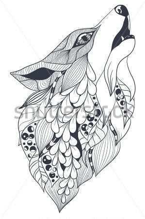 Fox Black White Dieren Tekenen Kleurpotloodtekeningen Mandala Tekeningen