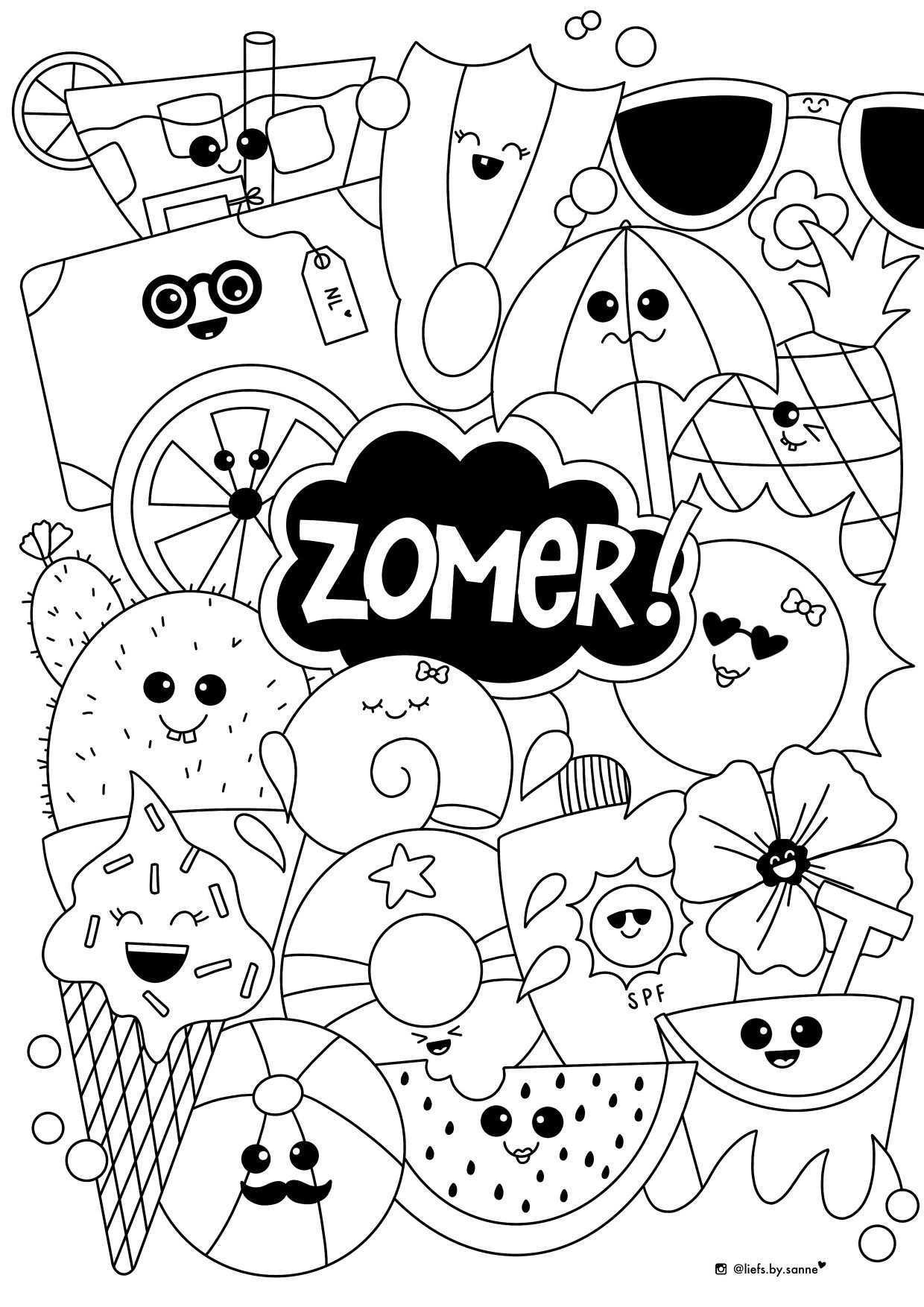 Zomer Summer Kleurplaat Coloring Page In 2020 Tekenlessenplannen Kleurplaten Knutselideeen
