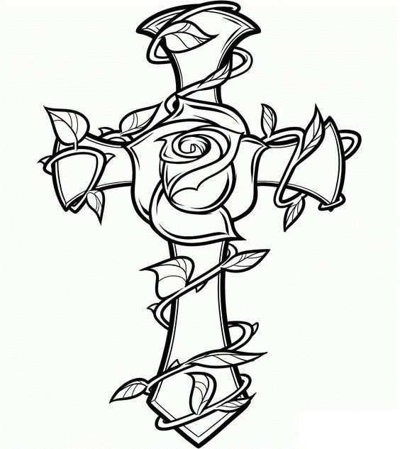 Cross Rose Coloringpages Adultcoloringpages Boek Bladzijden Kleuren Gratis Kleurplaten Kruis Tekening