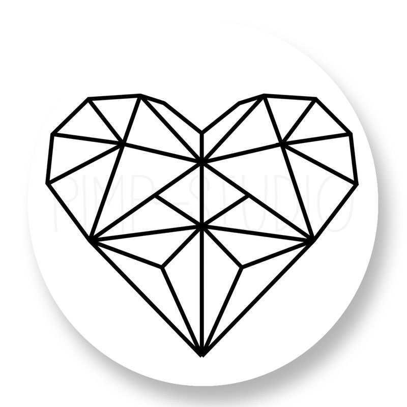 Sluitzegel Heart Geo Geometrische Tekening Geometrische Kunst Harttatoeages