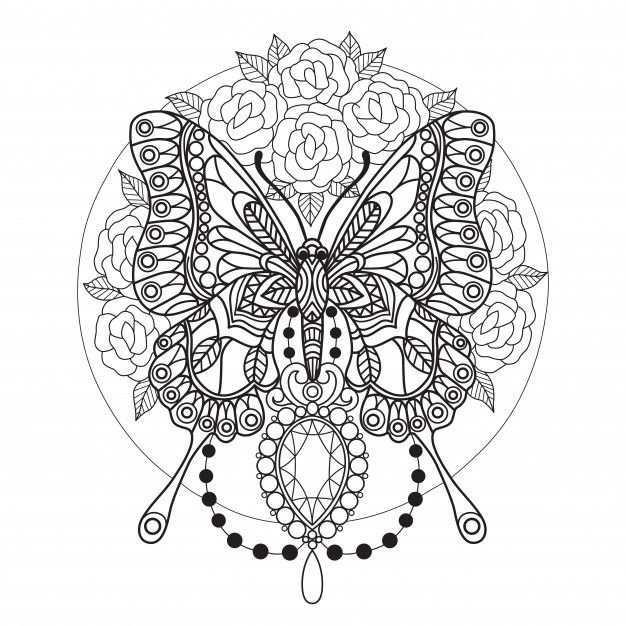 Coloriage Papillons Et Diamants Pour Adultes Kleurplaten Voor Volwassenen Kleurplaten Aquarel Kaarten