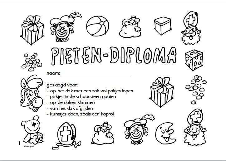 Pieten Diploma Kleuters Knutselen Sinterklaas Sinterklaas Peuter Yoga