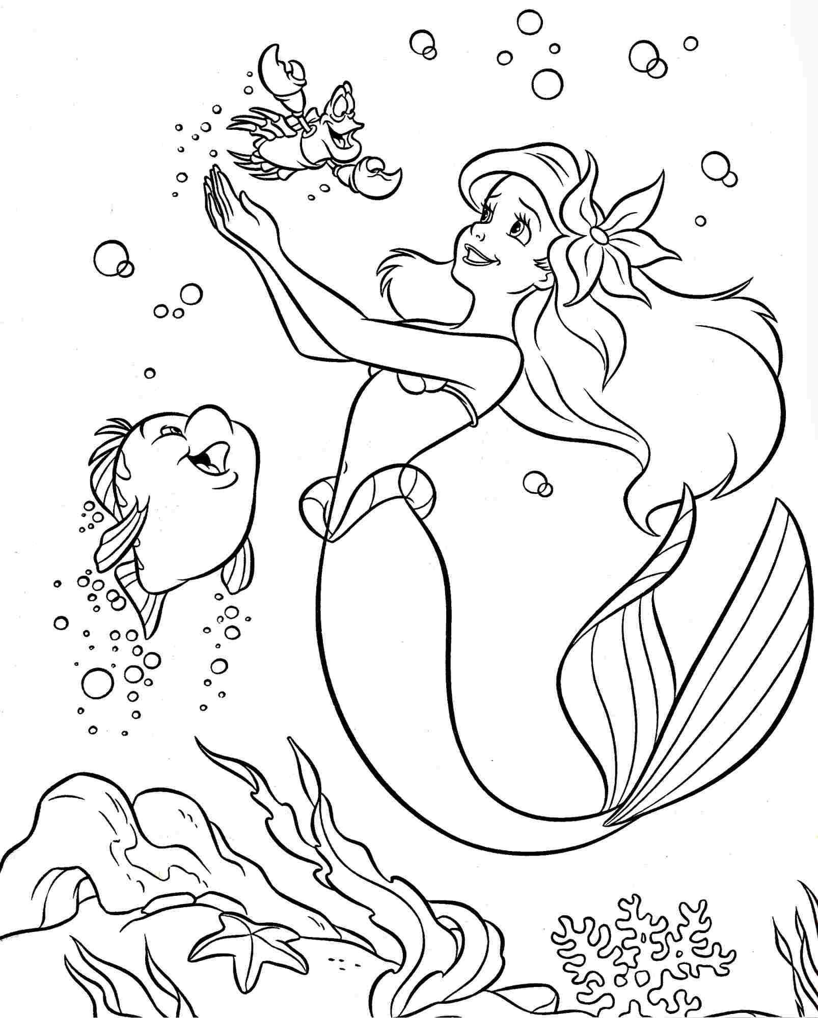 Colouring Pages Coloring Pages Disney Princess Little Mermaid Ariel For Kids Free Printable For Kids Girls Kleurplaten Disney Kleurplaten Frozen Kleurplaten