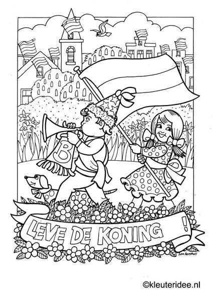 Kleurplaat Koningsdag Voor Kleuters 4 Kleuteridee Nl The Kings Day Coloring Kleurplaten Kleuren Prints