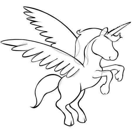 Draw Cartoon Unicorn With Wings Step4 Unicorn Drawing Unicorn Painting Unicorn Wings