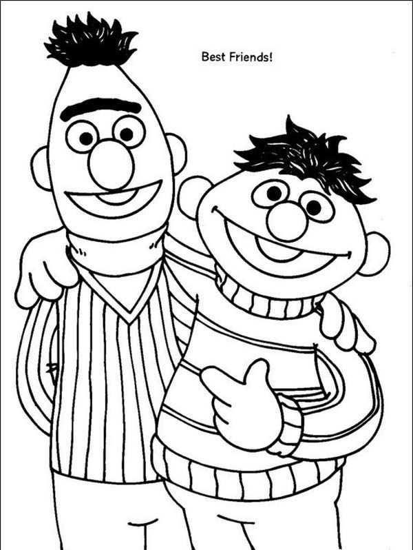 Bert And Ernie Are Best Friend In Sesame Street Coloring Page Sesame Street Coloring Pages Coloring Pages Sesame Street