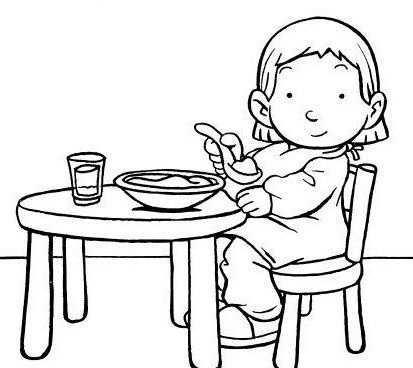 Kleurplaat Eten En Drinken Aan Tafel Kleurplaat Aan Tafel Eten Drinken Kleurplaten Thema Eten