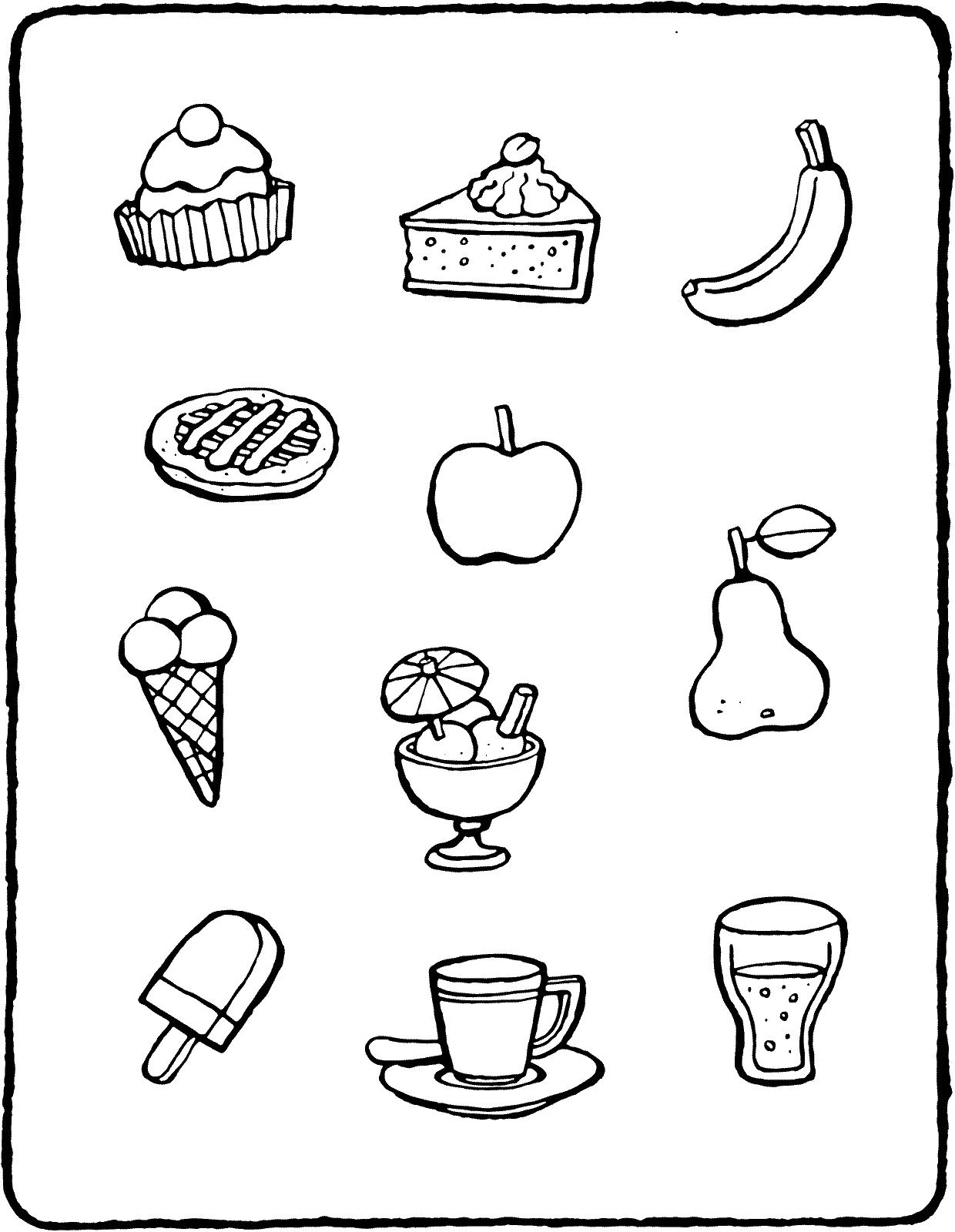 Maak Verzamelingen Met Eten Kleurplaat Kleurprent Tekening 01v Drinken Tekenen Eten Teken Eten