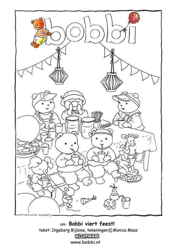 Kleurplaten Van Bobbi Deze Komt Uit Bobbi Viert Feest Kleurplaten Kinderkleurplaten Kinderknutsels