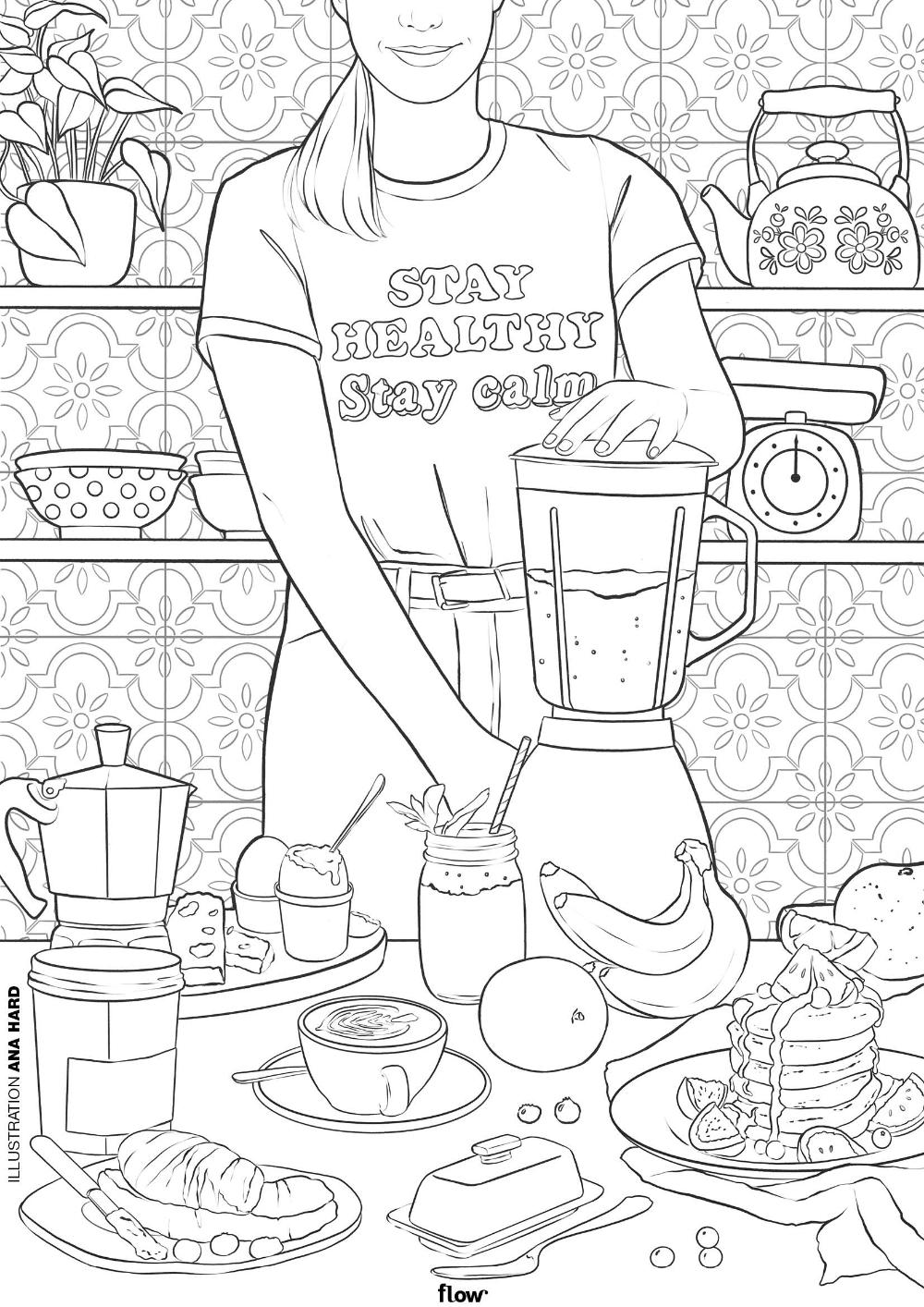 Kleurplaat Ana Hard Stay Healthy Calm Maak Een Smoothie Flow Magazine Nl Kleurplaten Kleurboek Mandala Kleurplaten