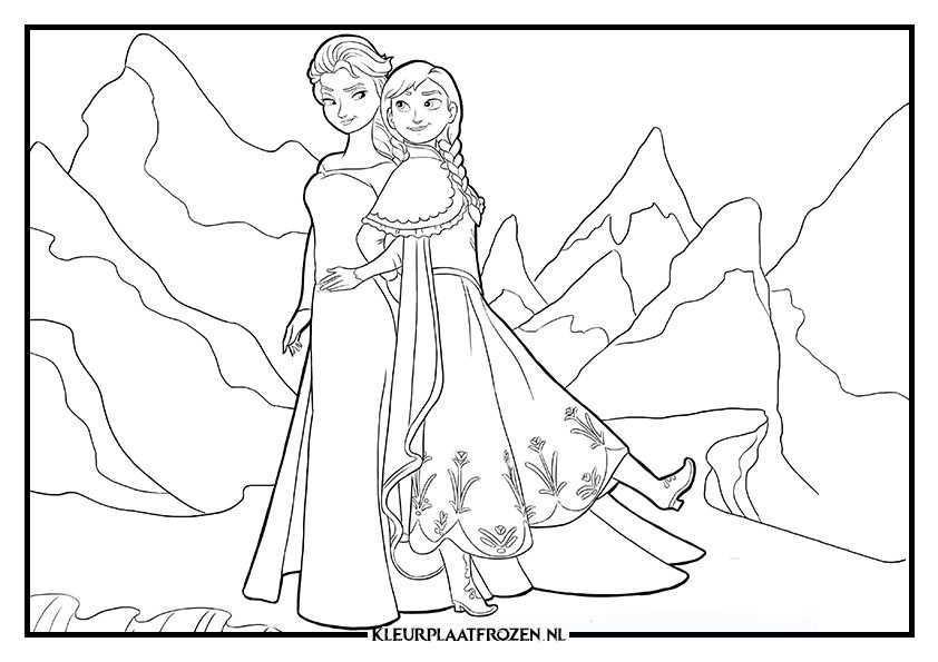 Elsa En Anna Kleuren Prinses Kleurplaatjes Frozen Kleurplaten Dieren Kleurplaten
