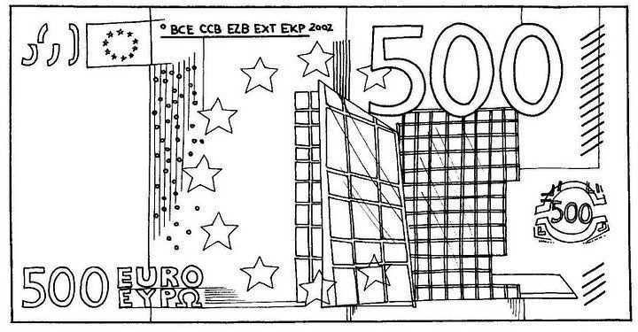 Biljet Van 500 Euro Groene Kerst Kleurplaten Geld