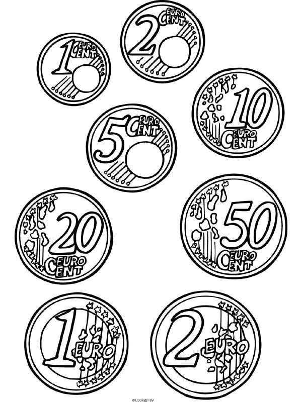Kleurplaten Com Kleurplaat Eurocenten Onderwijs Geld Onderwijs Wiskunde Geld