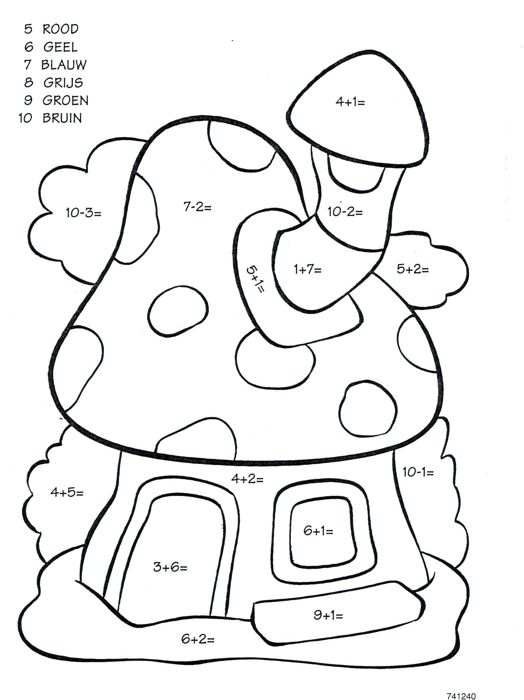 Werkblad Rekenen Paddestoel Rekenen Kinderkleurplaten Kleuren Met Nummers