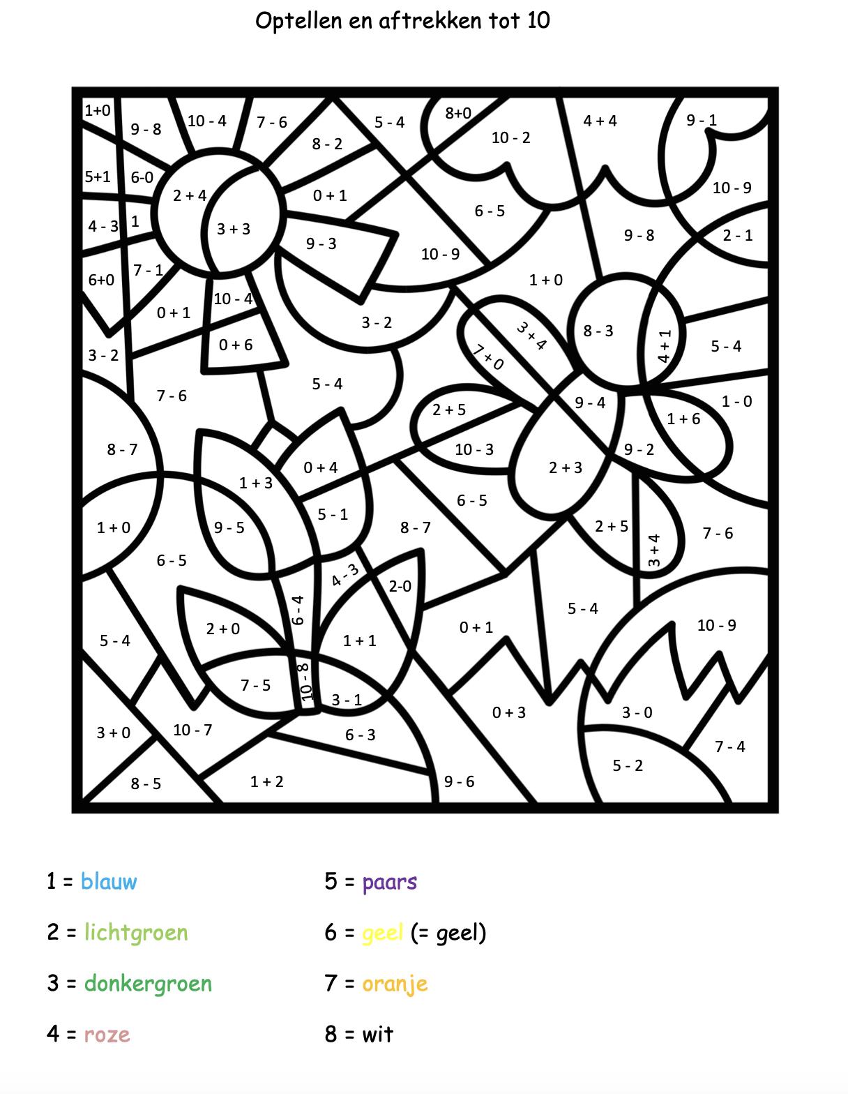 Groep 3 Kleuren Op Code Lente En Pasen Juf Maike Wiskunde Knutselen Kleuren Optellen En Aftrekken
