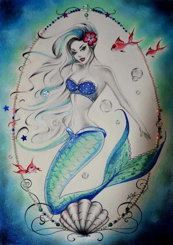 Anne Cha Art Mermaid Zeemeerminkunst Zeemeermin Illustratie Zeemeerminnen