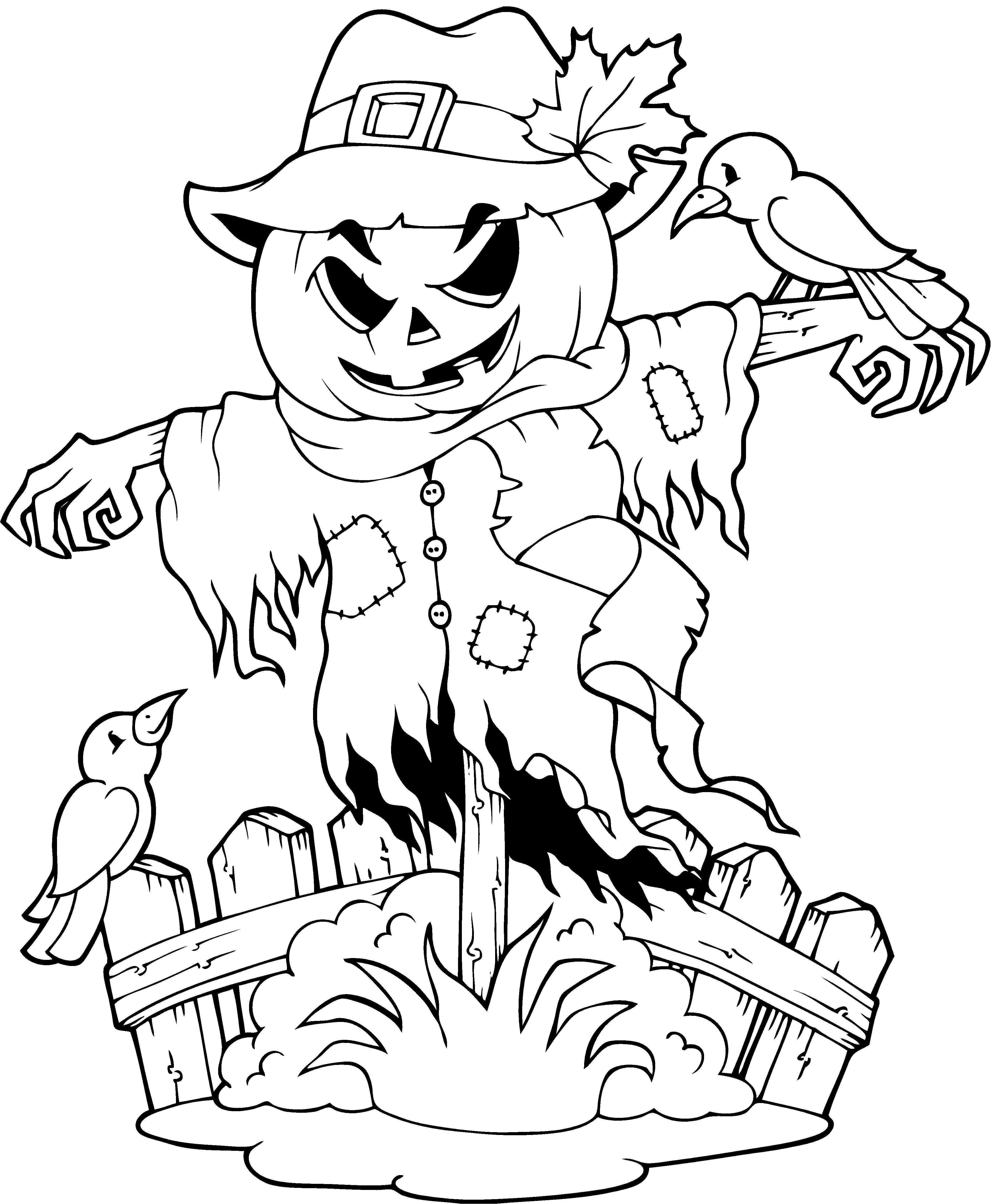 Een Leuke Kleurplaat Voor Halloween Kijk Op De Surfsleutel Voor De Printversie Halloween Tekeningen Halloween Vogelverschrikker Vogelverschrikker
