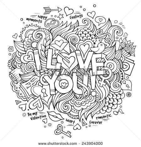 I Love You Hand Lettering And Doodles Elements Vector Illustration Mandala Kleurplaten Kleurboek Kleurplaten