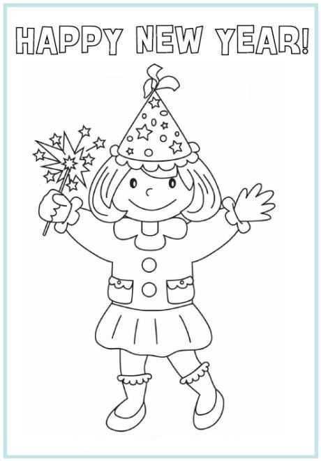 Happy New Year Kerstkleurplaten Gelukkig Nieuwjaar Nieuwjaar