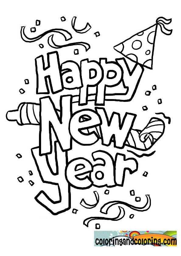 New Year S Coloring Pages Happy New Year Coloring Pages Coloring And Coloring Nieuwjaarsknutsels Kinderkleurplaten Nieuwjaar