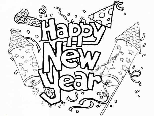 Free Printable Happy New Year 2019 Coloring Pages New Year Coloring Pages 2019 Greetings Happy New Year 2019 Happy Gelukkig Nieuwjaar Nieuwjaar Vuurwerk