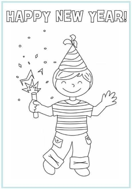 Happy New Year New Year Coloring Pages New Year Printables Coloring Pages For Boys