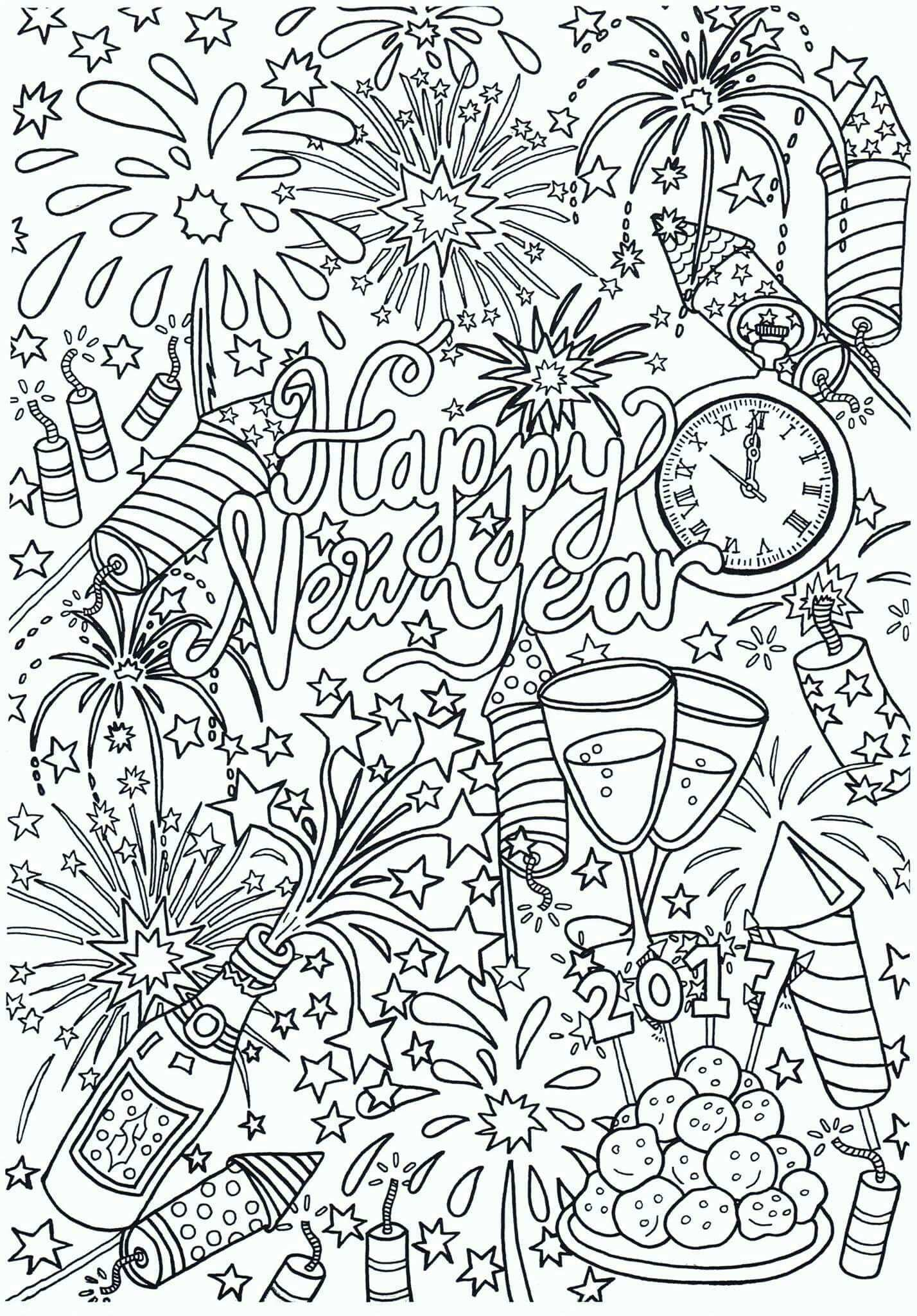 Happy New Year New Year Coloring Pages New Year S Eve Colors New Year Doodle