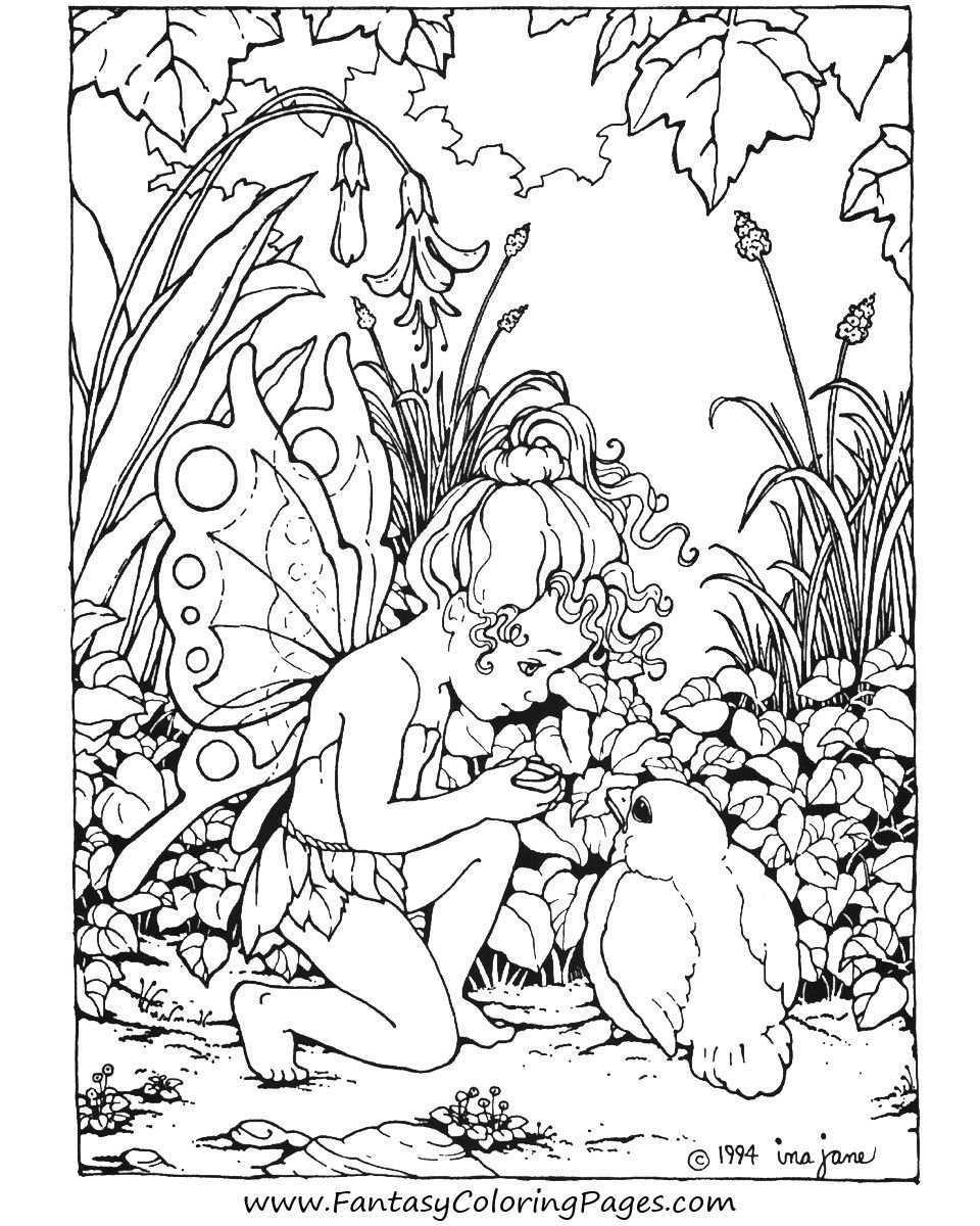Kleurplaat Elf Vogel Kleurboek Mandala Kleurplaten Kleurplaten
