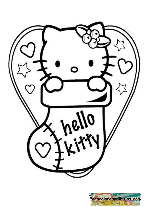 Unas Hello Kitty Navidad Bing Imagenes Hello Kitty Coloring Kitty Coloring Hello Kitty Colouring Pages