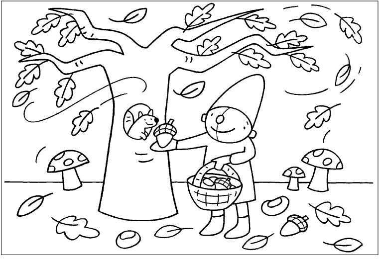 Kleurplaat Pompom Herfst Herfst Activiteiten Herfst Herfst Knutselen