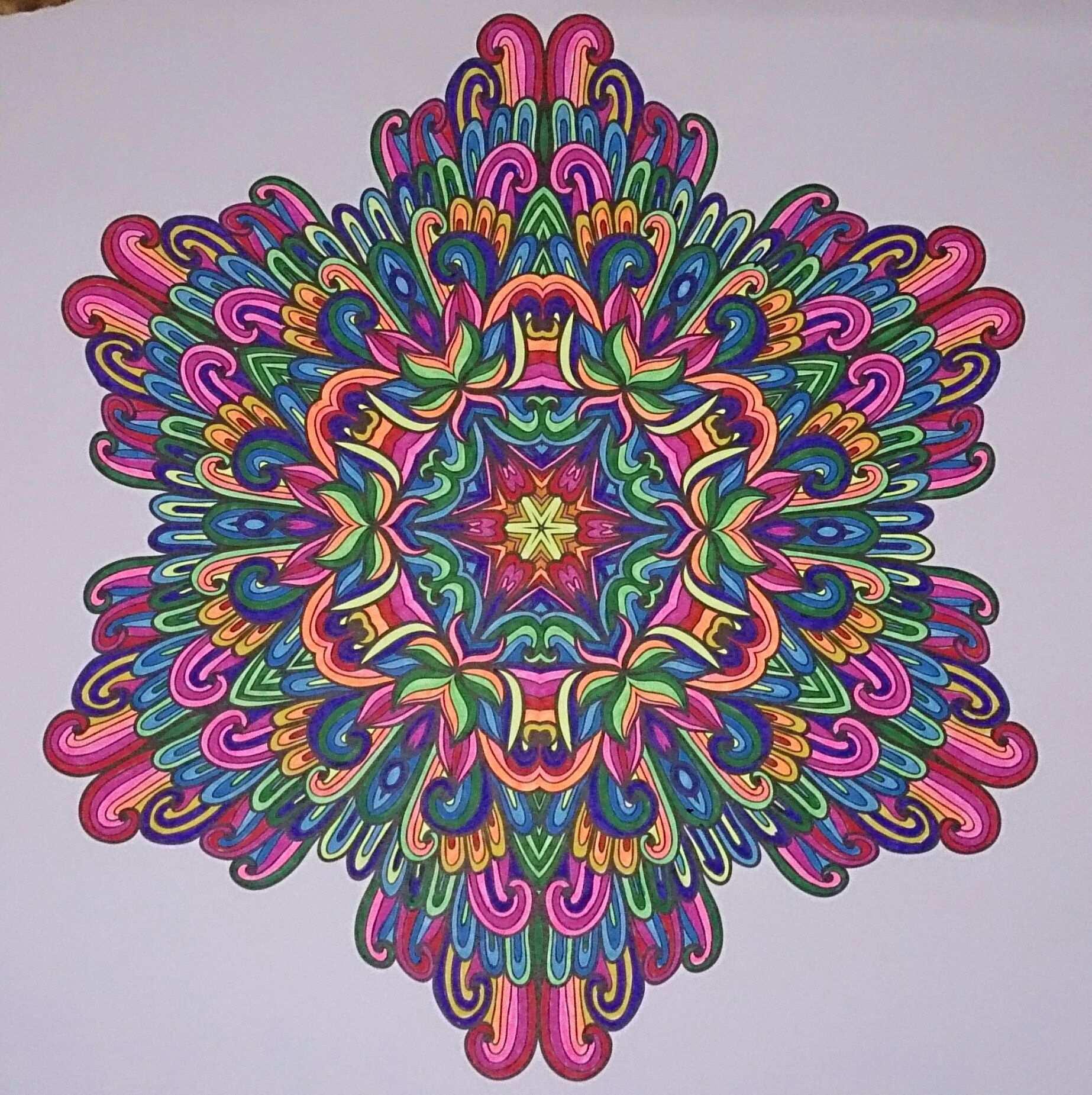Mijn Allereerste Ingekleurde Mandala Ingekleurd Met Stabilo 68 Uit Het Enige Echte Mandala Kleurboek Mandala Kleurplaten Mandala Kleurboek