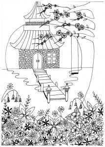 Kleurplaten Voor Volwassenen Japan Chinese Fans Doodles Zentangles Zentangle