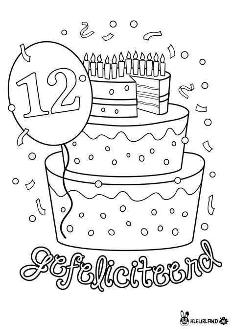 Verjaardagstaart 12 Jaar Happy Birthday Coloring Pages Birthday Coloring Pages School Birthday