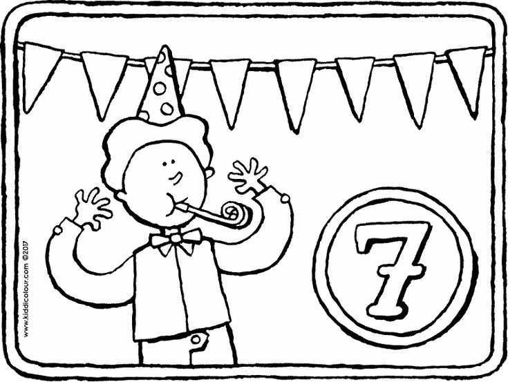 7 Jaar Kleurplaat Kleurprent Tekening 01k Verjaardag Kleurplaten 30 Verjaardag