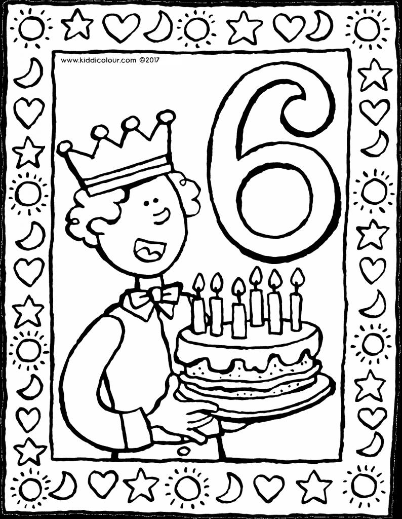 6 Jaar Kleurplaat Kleurprent Tekening 01v Jongen Verjaardag Verjaardagskalender Verja