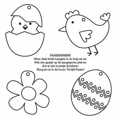 Knutsel Kleurplaat Paashangers Kleurplaat Kaarten Kaartje2go Knutselen Voor Pasen Knutselen Voorjaar Pasen