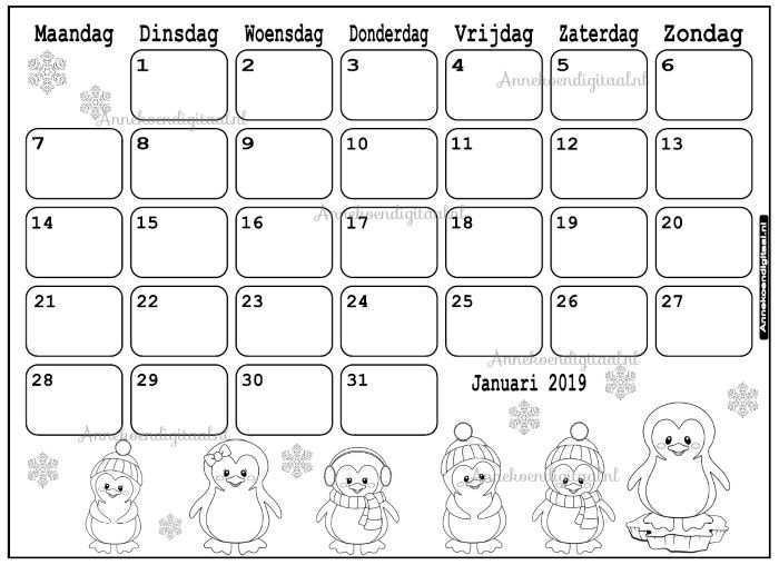 Januari 2019 Kalender Thema Kleurplaat Kleurplaten Kalender Aftelkalender