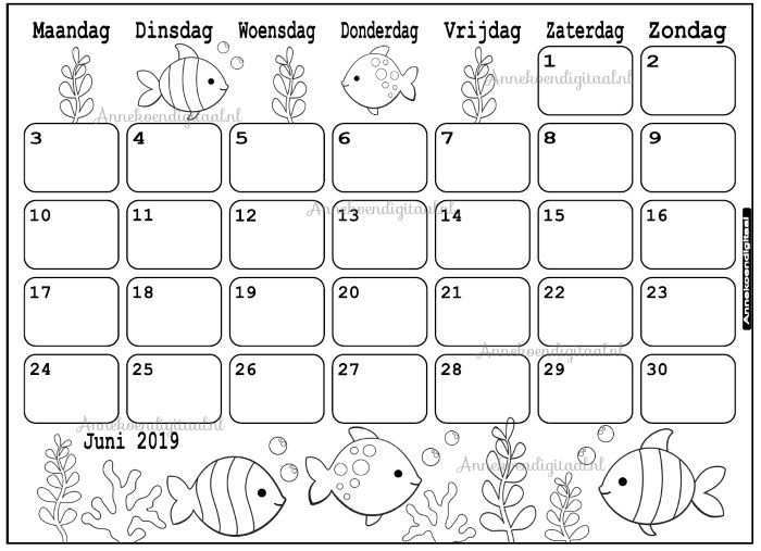 Juni 2019 Kalender Thema Kleurplaat Kleurplaat Kalender Annekoendigitaal Afdrukbare Agenda Afdrukbare Kalender Aftelkalender