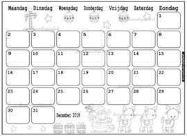 December 2019 Maandkalender Met Kerst Rendieren Print Het Zo Vaak Uit Als Je Nodig Hebt Handig Iedereen In Huis Een Afdrukbare Agenda Maandkalenders Kalender