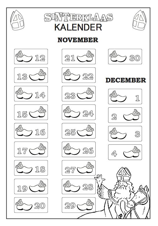 Aftelkalender Sinterklaas Sinterklaas Kalender Voor Kinderen