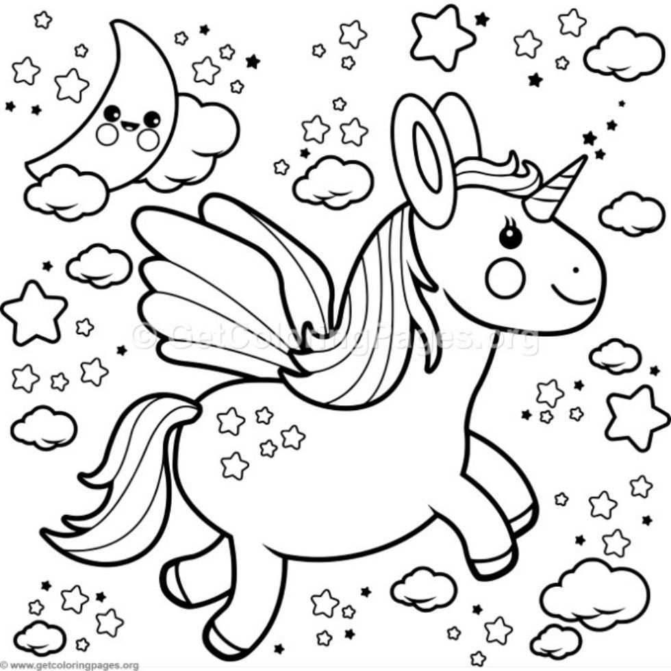 Flying Kawaii Unicorn Coloring Pages Getcoloringpages Org Unicorn Coloring Pages Coloring Pages Coloring Books