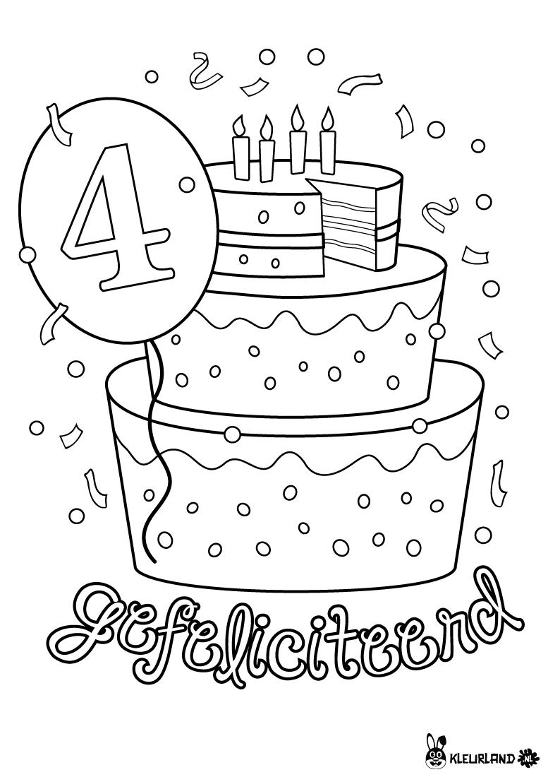 Verjaardagstaart 4 Jaar Verjaardag Verjaardagsideeen Verjaardagskalender