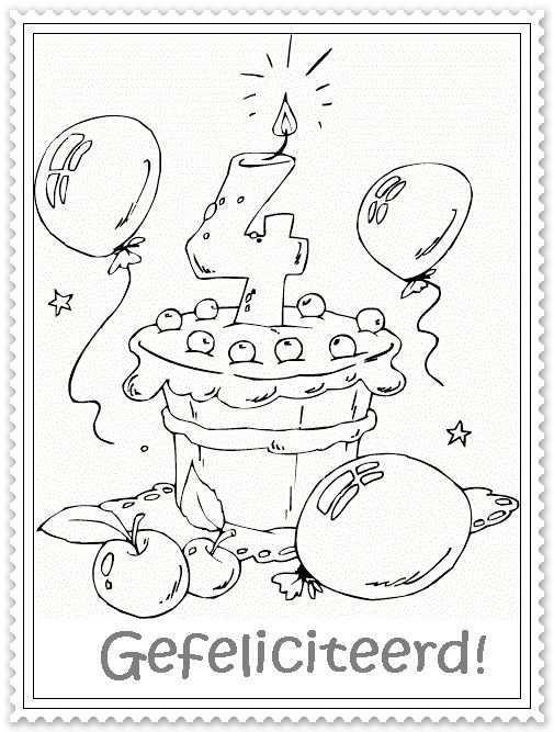 Hoera 4 Jaar Digitale Stempels Verjaardagskalender Digi Stempels