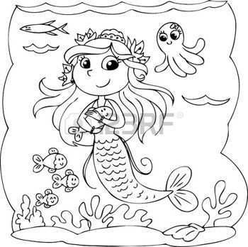 Kleurplaat Voor Kinderen Kind Duiken Onder Water Met Vissen Dieren Kleurplaten Kleurplaten Voor Kinderen Kleurplaten