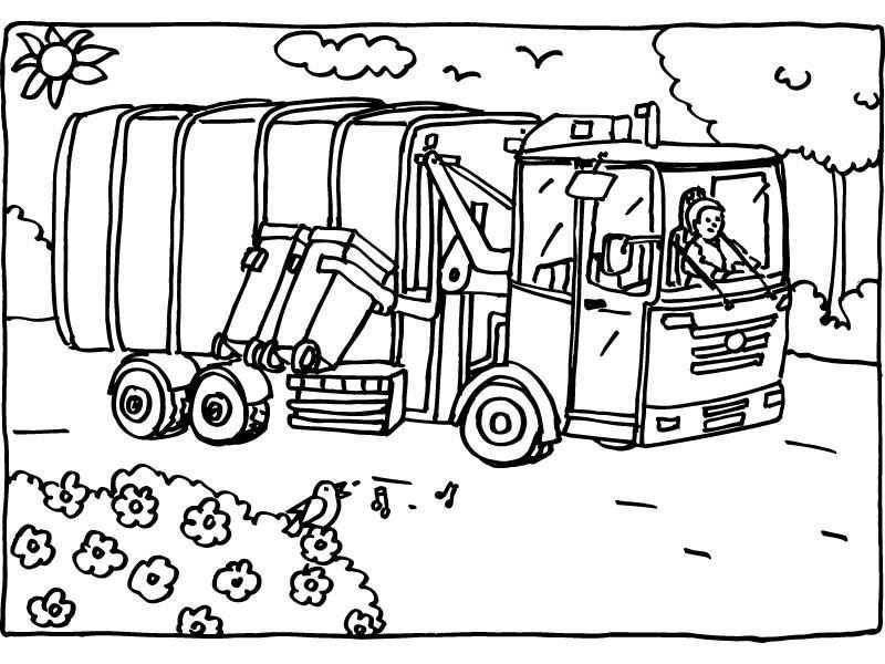 Kleurplaat Vuilniswagen Als Ontwerp Voor Een Feesthoed Voor Iemand Die Gek Is Op Vuilniswagens Vuilniswagen Thema Kleurplaten