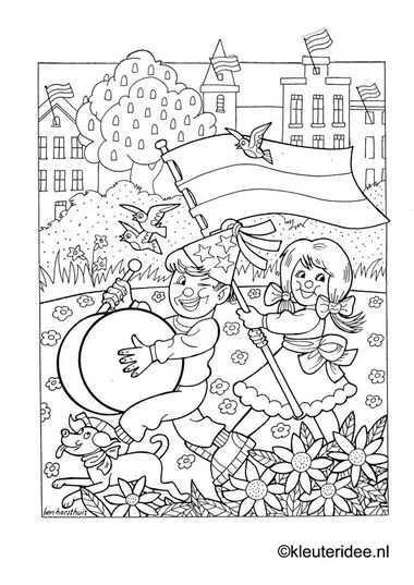 Kleurplaat Koningsdag Voor Kleuters 2 Kleuteridee Nl The Kings Day Coloring Kleurplaten Thema Doodles
