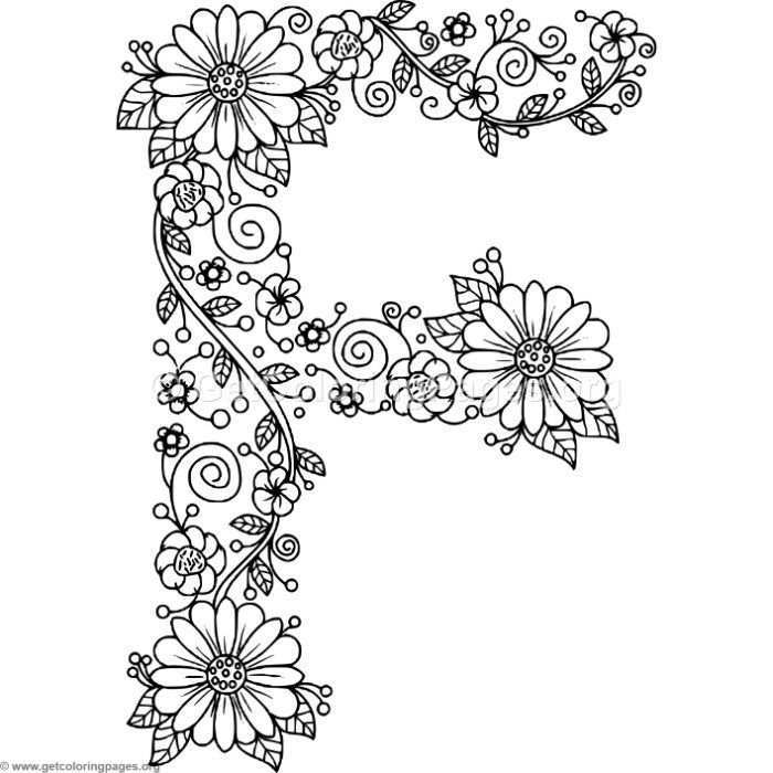 Free Downloads Floral Alphabet Letter F Coloring Pages Coloring Coloringbook Coloringpages Flor Alphabet Coloring Pages Coloring Letters Lettering Alphabet