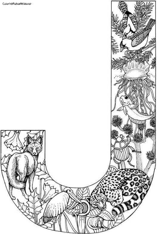 Alphabet Forest Coloring Pages For Kids Animales Para Pintar Tatuaje De La Justicia Dibujos
