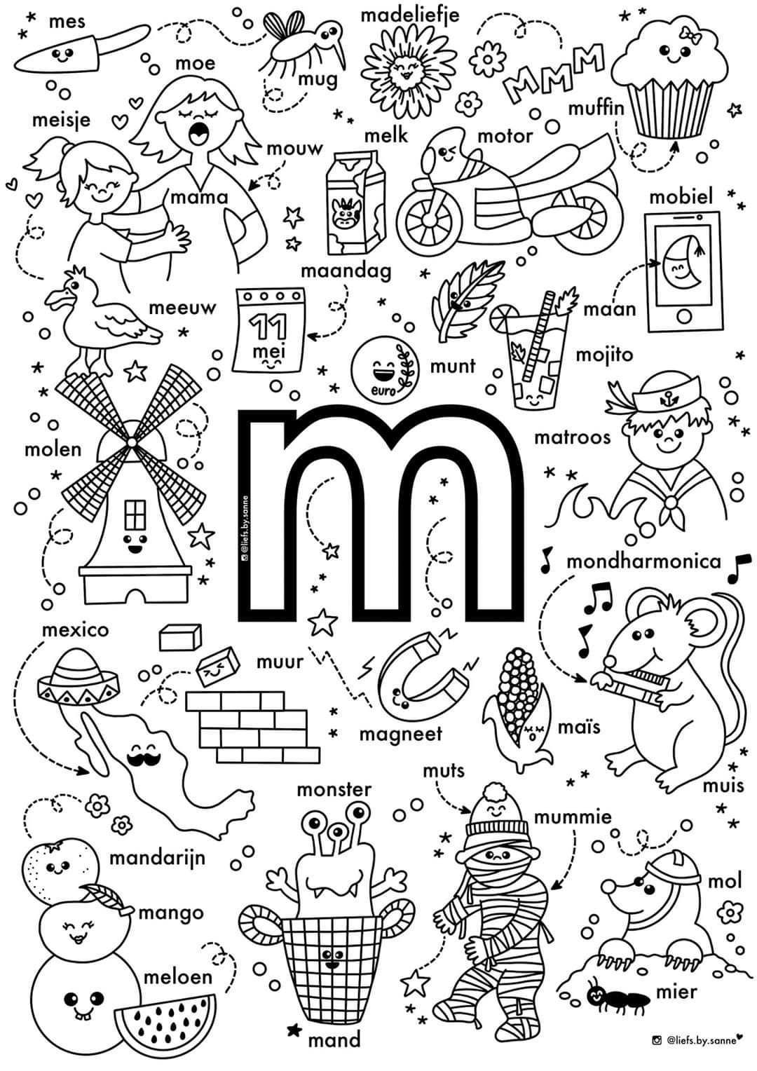 M Woorden Kleurplaat Letterherkenning Spelletjes Alfabet Kleurplaten Alfabet Boek
